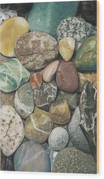 Vashon Island Beach Rocks Wood Print
