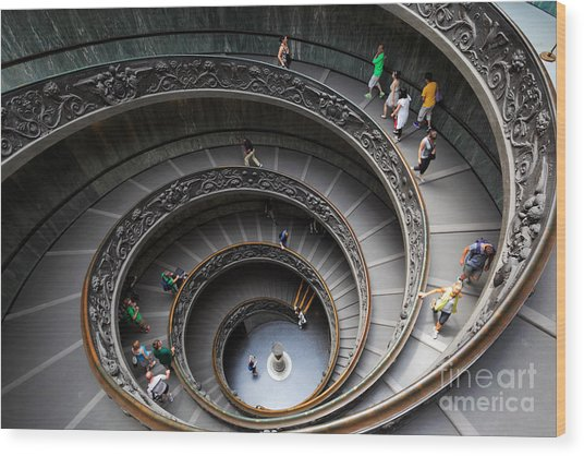 Vatican Spiral Staircase Wood Print