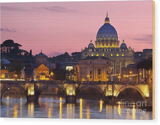 Vatican Twilight Wood Print