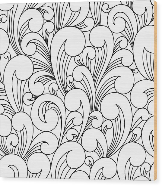 Vector Black And White Pattern With Wood Print by Maria galybina