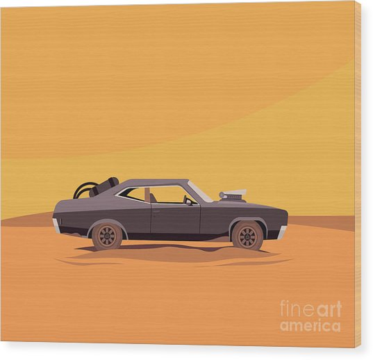 Vector Flat Illustration Of A Vehicle Wood Print by Supercaps