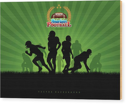 Vector Football Background Wood Print by Stock art