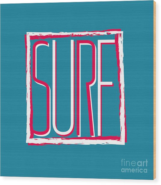 Vector Illustration Californian Surf Wood Print