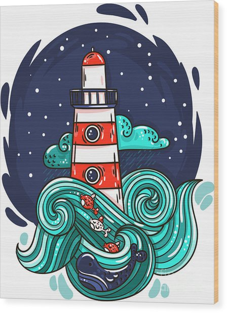 Vector Illustration Lighthouse In Storm Wood Print