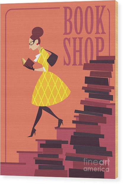 Vector Illustration Of Bookstore, Books Wood Print by Porcelain White