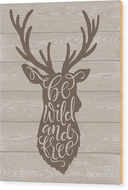 Vector Illustration Of Deer Silhouette Wood Print by Bariskina