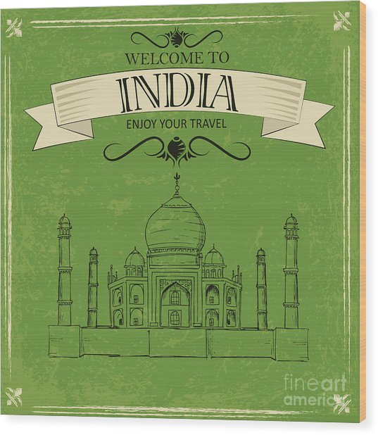 Vector Illustration Of Taj Mahal Of Wood Print