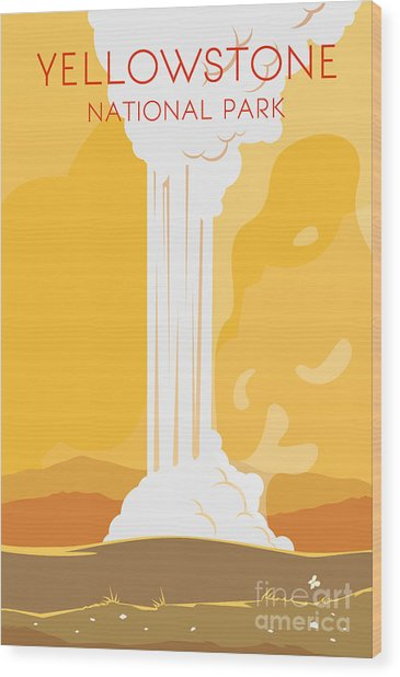 Vector Retro Poster. Yellowstone Wood Print by Red Monkey