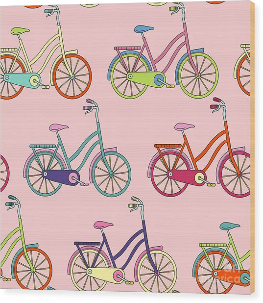 Vector Seamless Pattern With Bicycle Wood Print by Maria galybina