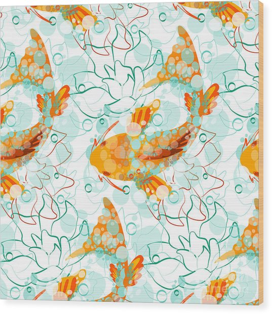 Vector Seamless Pattern With Koi Fish Wood Print