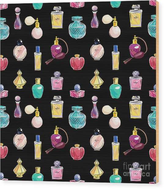 Vector Seamless Perfume Pattern Wood Print