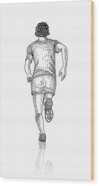 Vector Sketch Of Man Runs Into The Wood Print