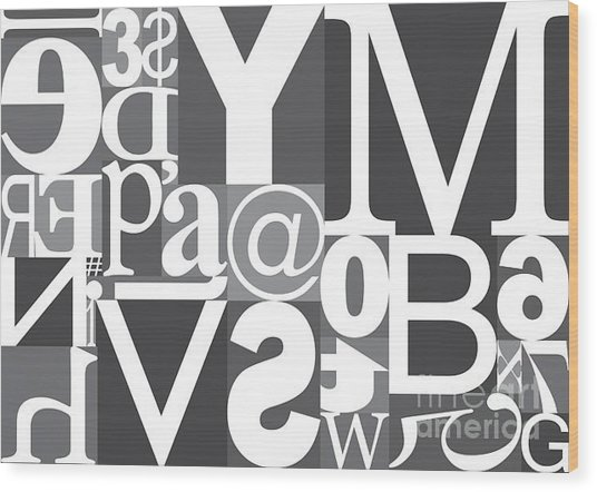Vector Typography Blocks Wood Print by Rob Pitman