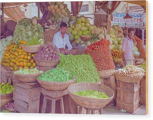 Vegetable Seller In Indian Market Wood Print