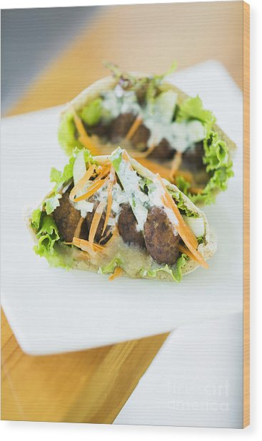 Vegetarian Falafel In Pita Bread Sandwich Wood Print