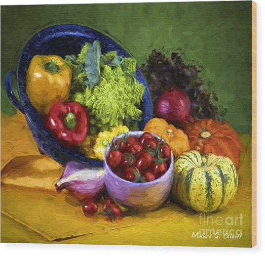 Veggie Bowl  Wood Print