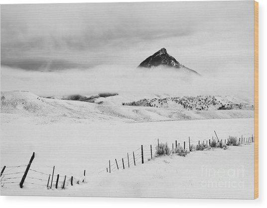 Veiled Winter Peak Wood Print