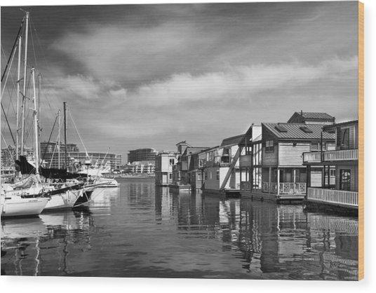 Veiw Of Marina In Victoria British Columbia Black And White Wood Print