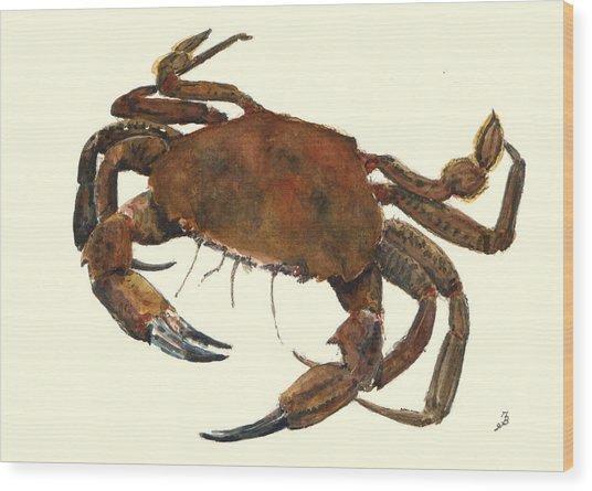 Velvet Crab Wood Print