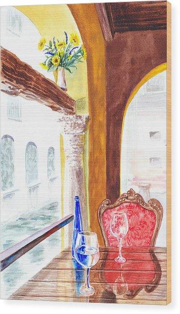 Venetian Cafe Wood Print