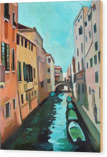 Venetian Channel Wood Print by Filip Mihail