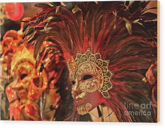 Venetian Masks Wood Print