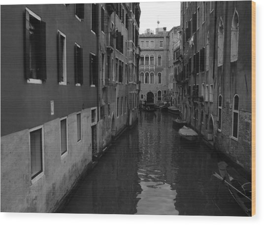 Venetian Monochrome Bw Wood Print