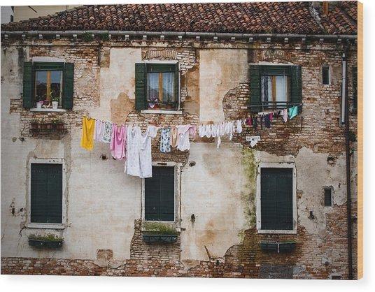 Venetian Washing Wood Print
