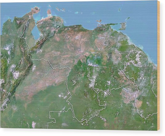 Venezuela Wood Print by Planetobserver/science Photo Library
