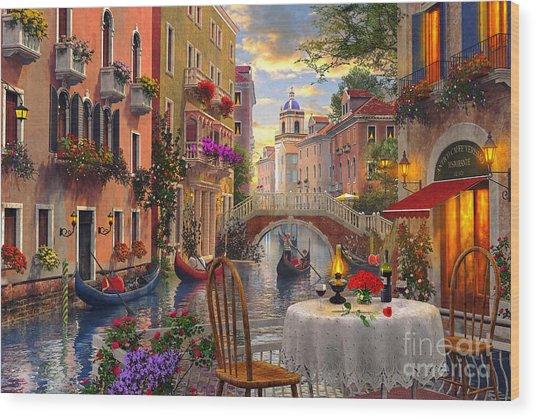 Venice Al Fresco Wood Print