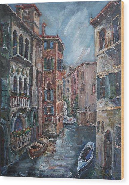 Venice At Dusk Wood Print