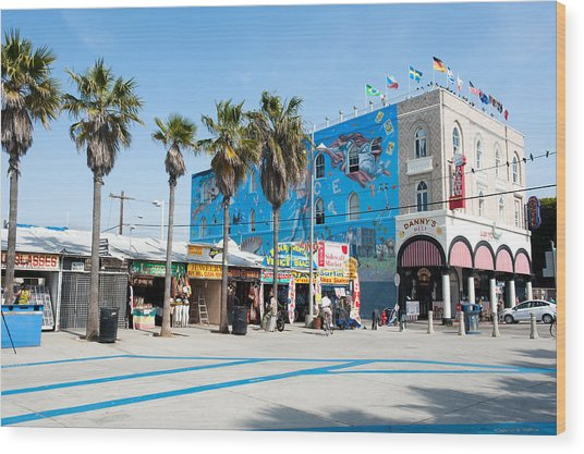 Venice Beach Boardwalk Wood Print