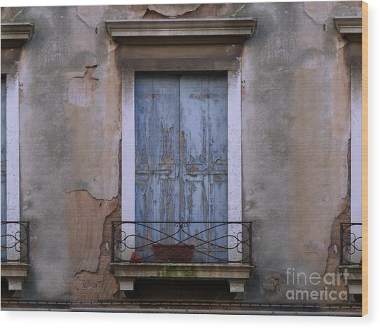 Venice Blue Shutters Horizontal Photo Wood Print
