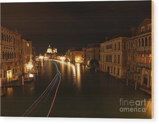 Venice By Night Wood Print