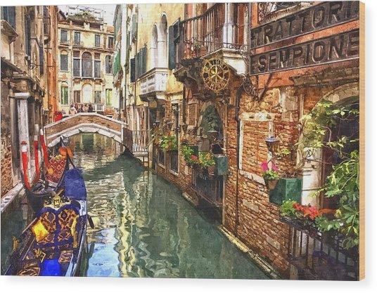Venice Canal Serenity Wood Print