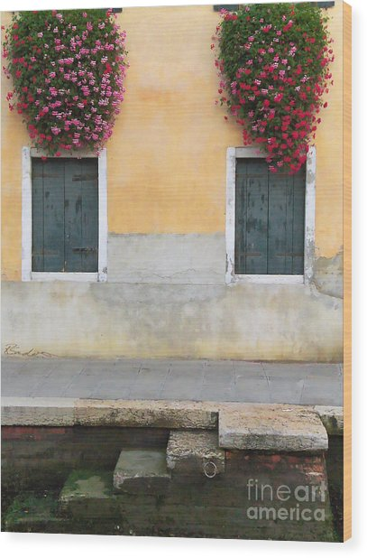 Venice Canal Shutters With Window Flowers Wood Print