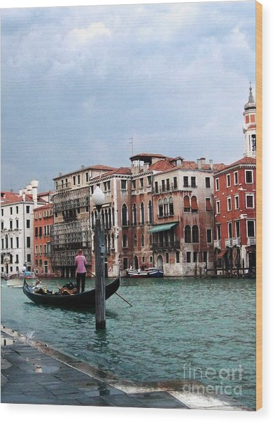 Venice Gondola Wood Print by Sandy MacNeil