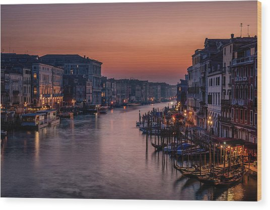 Venice Grand Canal At Sunset Wood Print by Karen Deakin