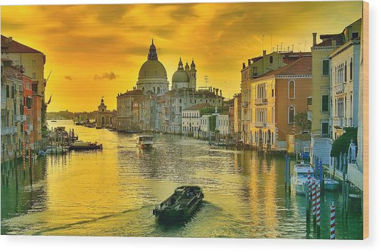 Golden Venice 3 Hdr - Italy Wood Print