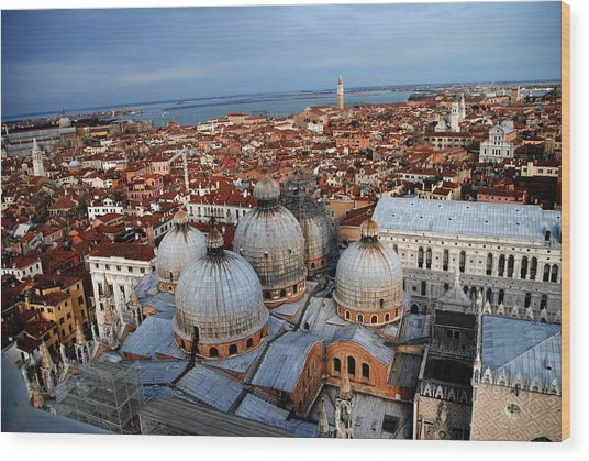 Venice In Glory Wood Print by Jacqueline M Lewis