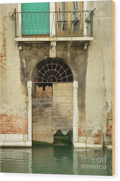 Venice Italy Boat Room Shutters Wood Print