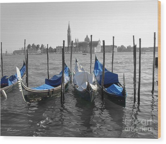Venice Italy Boats In Black And Blue Wood Print