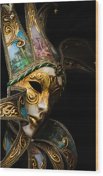 Venice Italy - Carnival Mask Wood Print