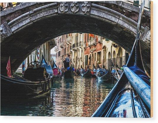 Venice Italy Gondola - Ride Through Canal Wood Print