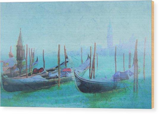 Venice Italy Gondolas With San Giorgio Maggiore Wood Print