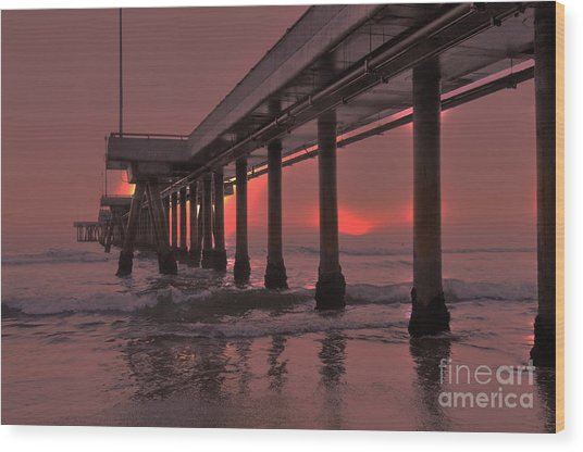 Venice Pier In Red Wood Print