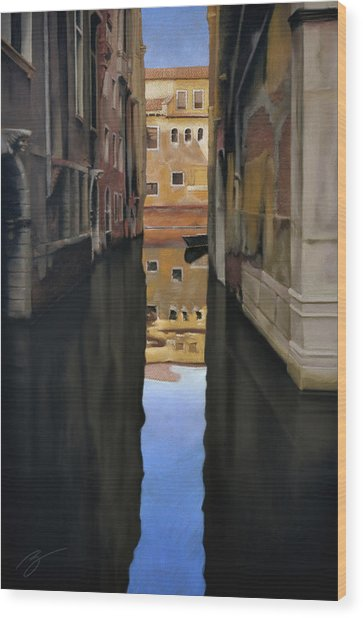 Venice Reflections - Pastel  Wood Print