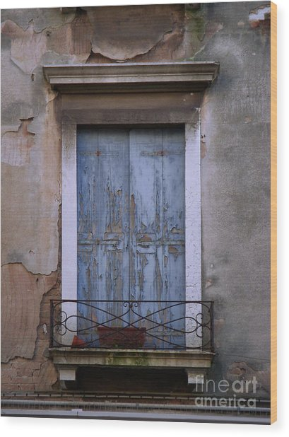 Venice Square Blue Shutters Wood Print