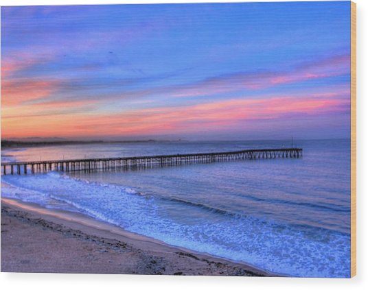 Ventura Beach Pier Wood Print by Walt Miller