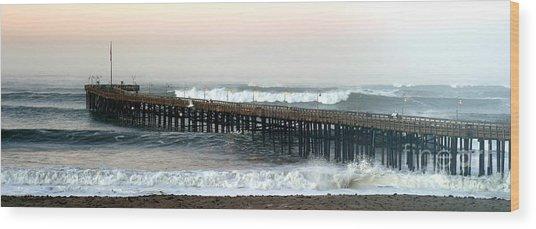 Ventura Storm Pier Wood Print